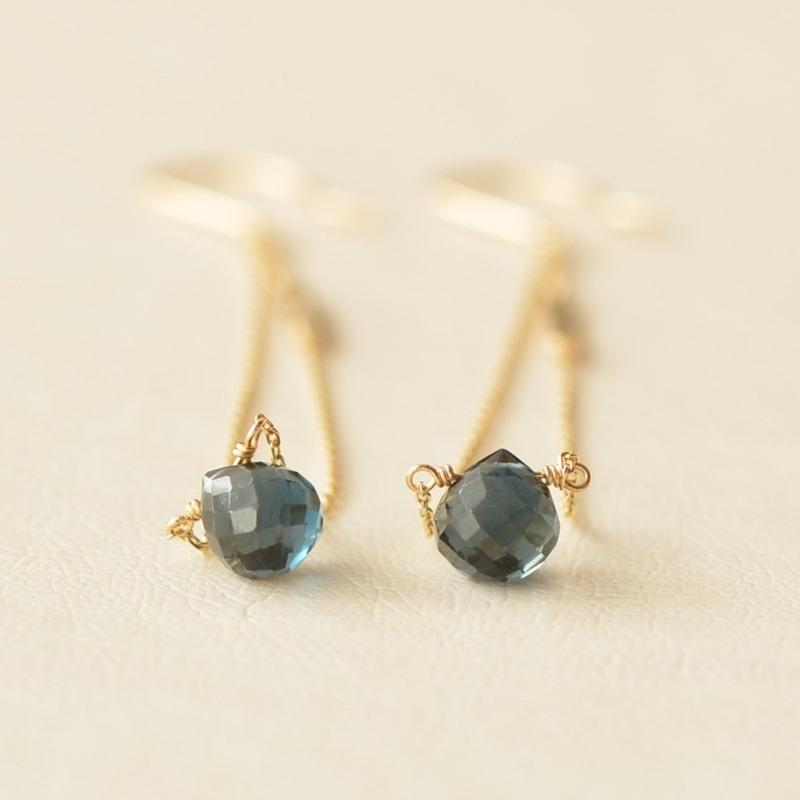 London blue topaz long pierce