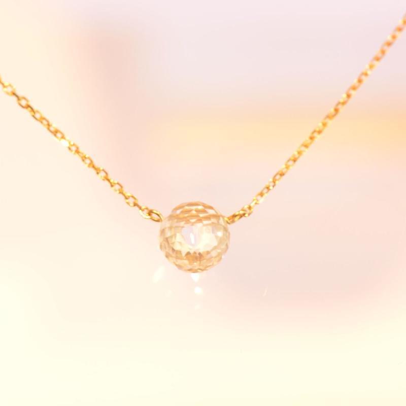 White Topaz Long Necklace (K10YG)