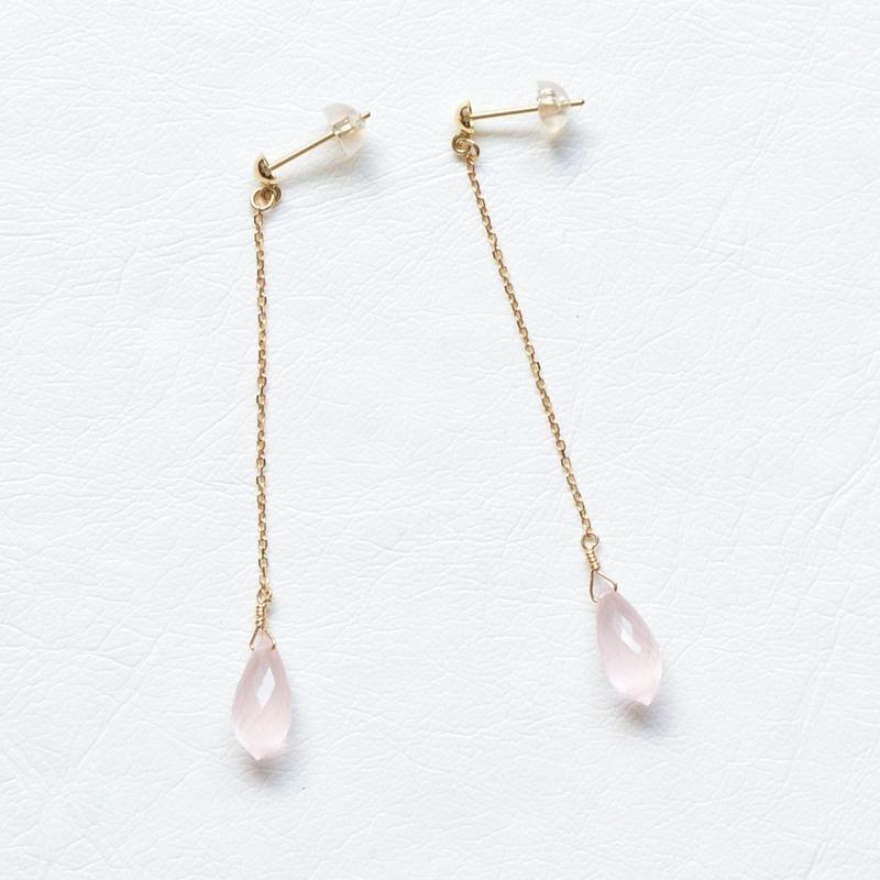 Rose Quartz Pierce (SNP-128RQ-S K18YG)