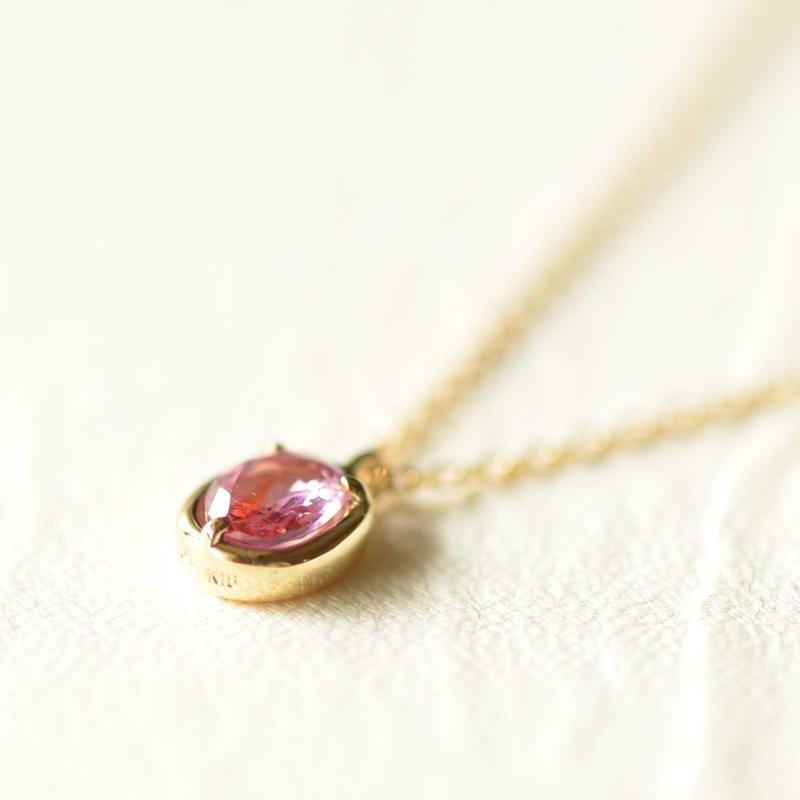 Padparadscha sapphire necklace(K18YG)