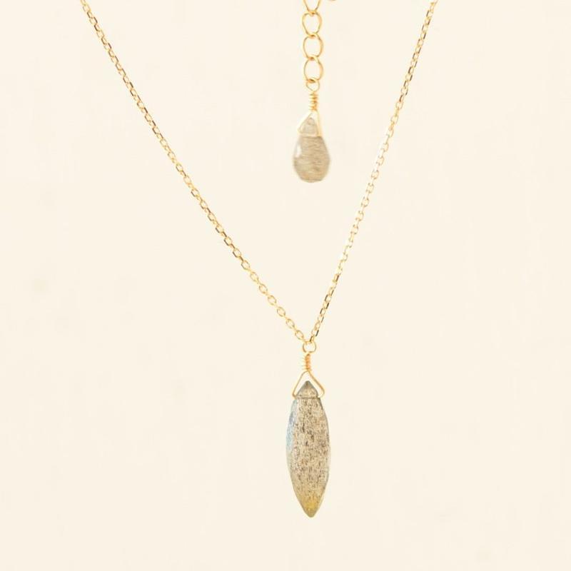 Labradorite Necklace (SNN-054LB K18YG )