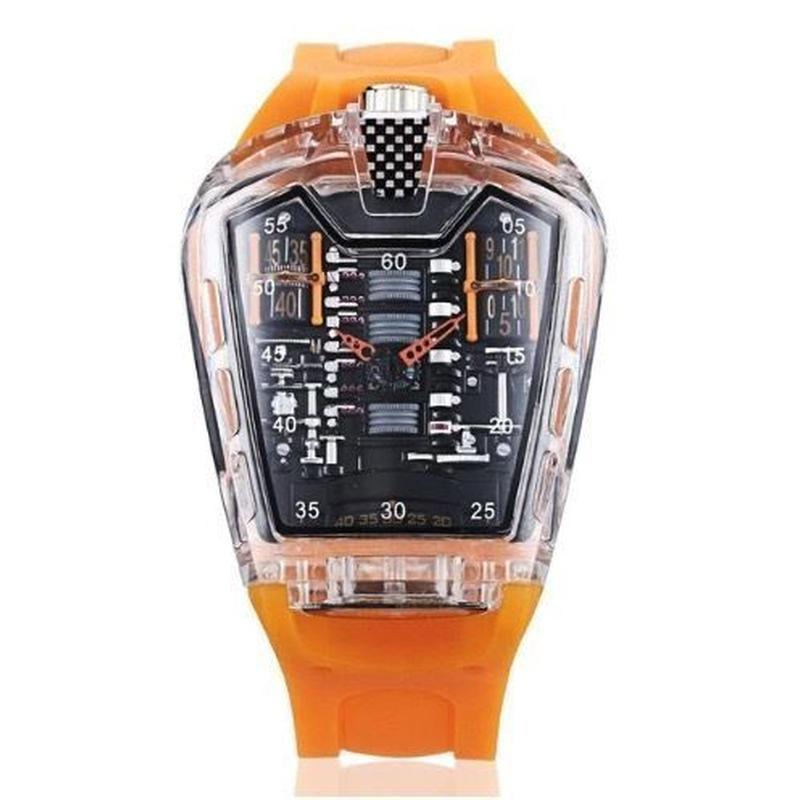 KIMSDUN メンズ クォーツ腕時計 シリコンストラップ K-725-2オレンジ