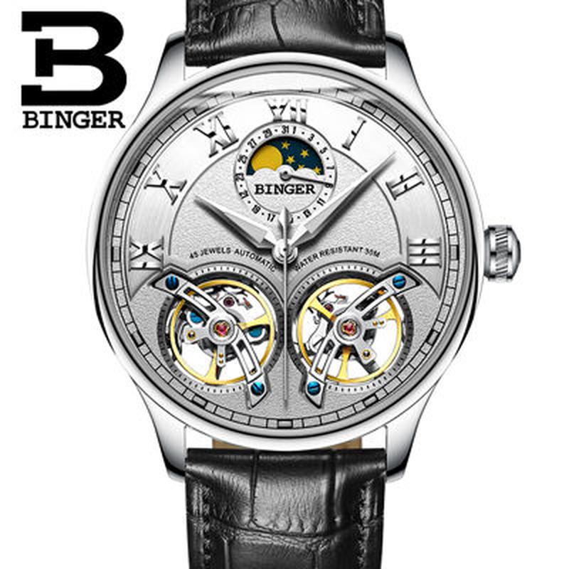 BINGER 腕時計 トゥールビヨン 機械式 防水 サファイアクリスタル 革 メンズ
