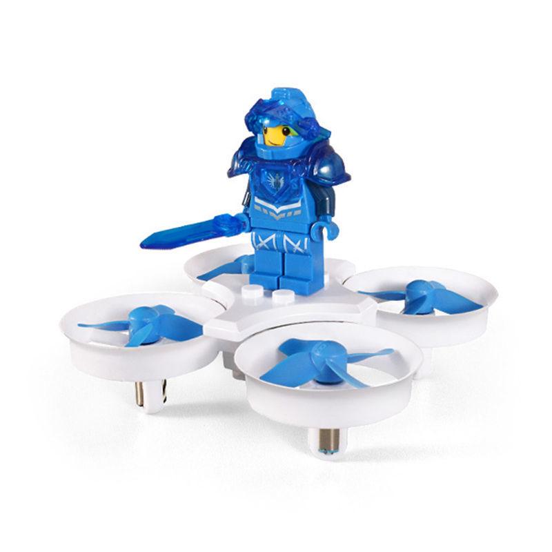 クアッドコプター ラジコン ドローン ブロック人形付き ホワイト-ブルーモデル