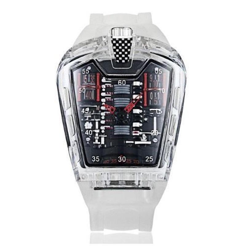 KIMSDUN メンズ クォーツ腕時計 シリコンストラップ K-725-1 ホワイトレッド