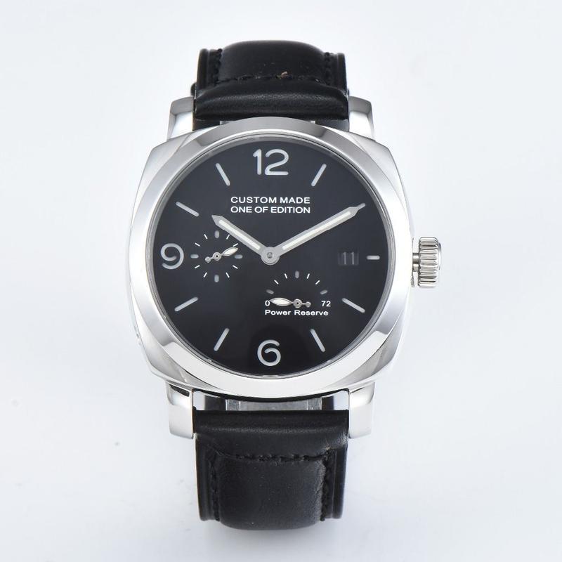 Parnis(パーニス)機械式腕時計 ブラックダイヤル レザーストラップ パワーリザーブ