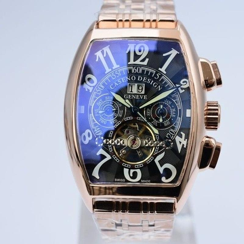 Caseno   メンズ腕時計  トゥールビヨンスケルトン自動機械式  ステンレスバンド