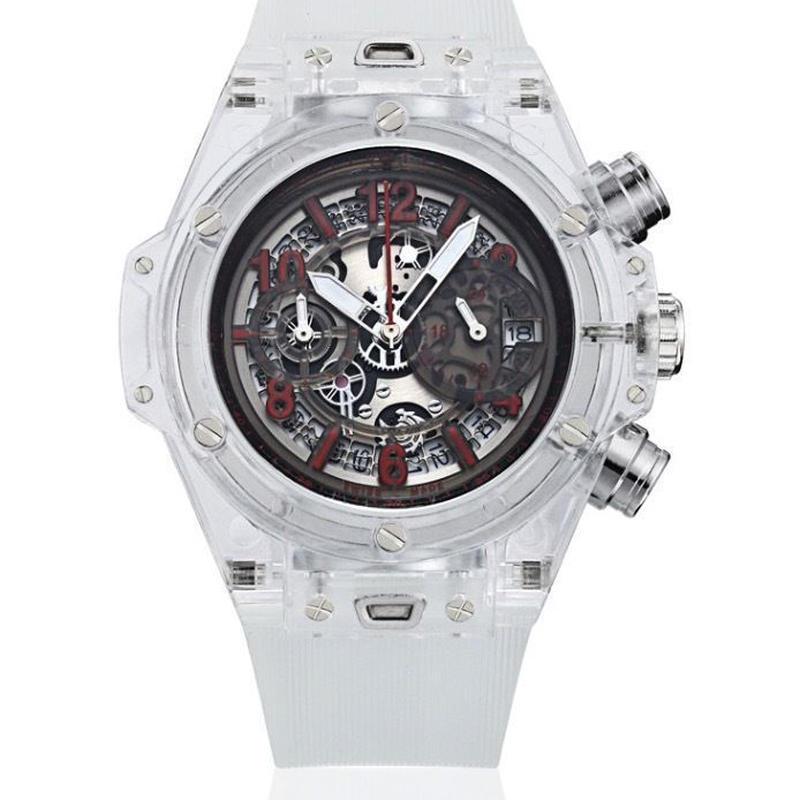 KIMSDUN 腕時計 スケルトン メンズ クォーツムーブメント ホワイト・レッド  K-719-7