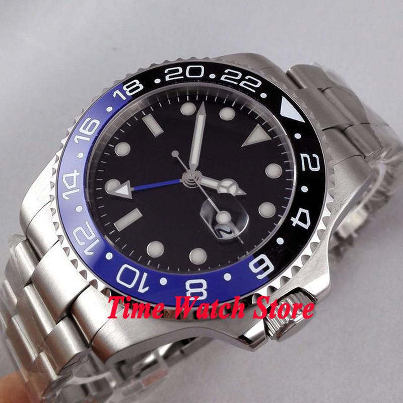 Bliger 自動巻きメンズ腕時計 ブラック ブルー ダイヤル