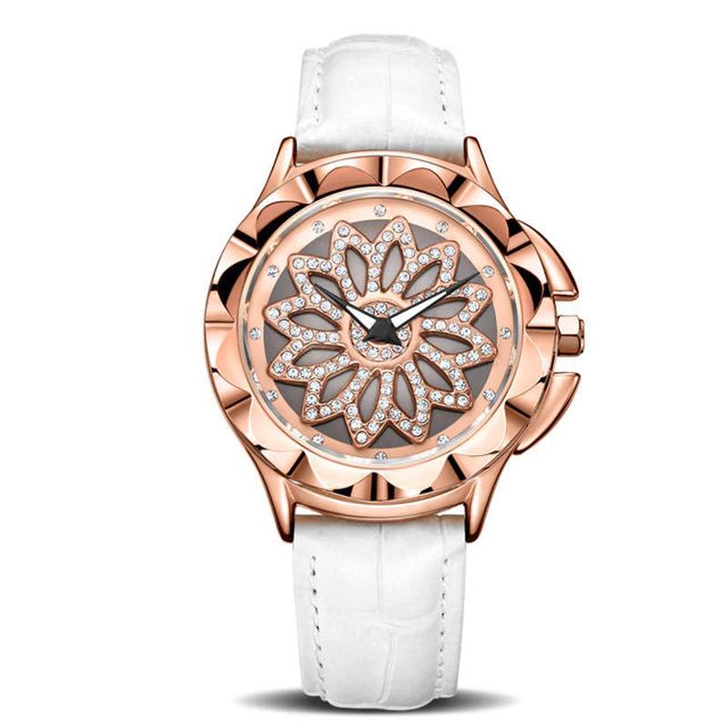 MEGIRぐるぐる腕時計 ラグジュアリー 回転ダイヤル レディース クォーツ時計 レザーストラップ