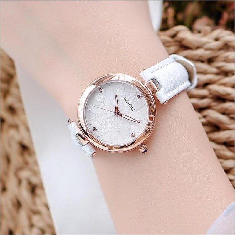 GUOU 腕時計 花柄ダイヤル レディース