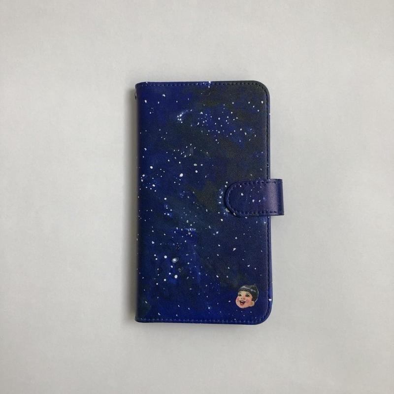 手帳型携帯ケース:宇宙(ほぼ全機種対応スライド式)
