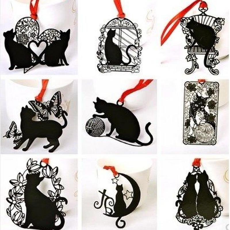 黒い猫 ステンレス金属 しおり ブックマーク