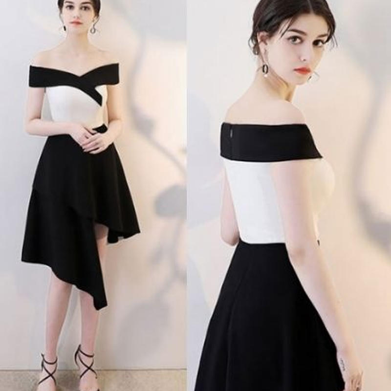 オフショルダードレス  バイカラー ブラック&ホワイト