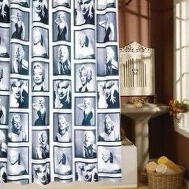 モノトーン マリリン モンロー プリント シャワーカーテン