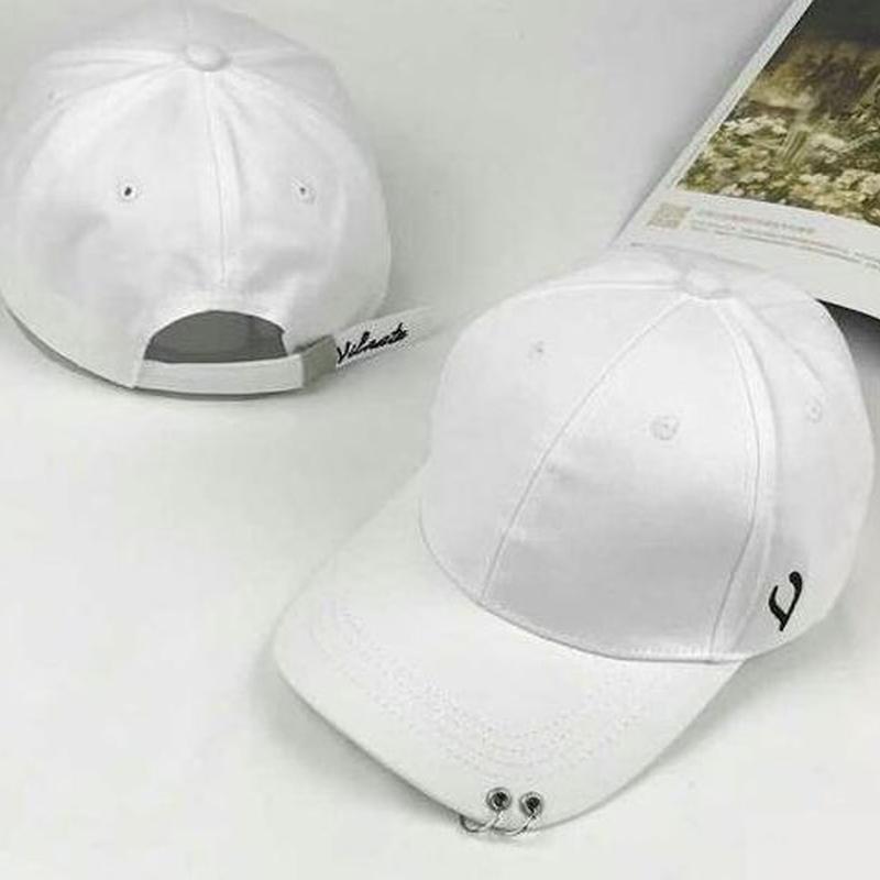 白 ホワイト vマーク 男女兼用 2連リング付きキャップ