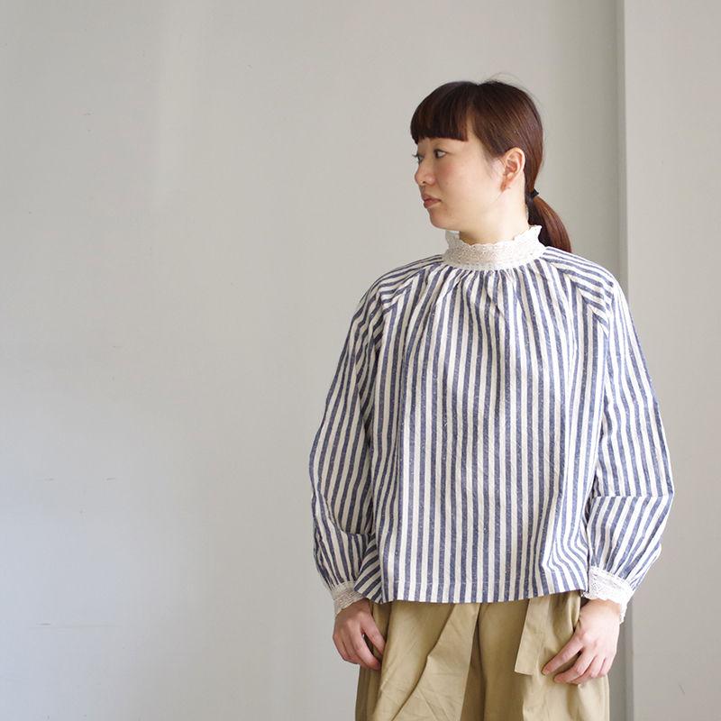 i c h i 181023 C/L Stripe Pullover Blouse / Blue