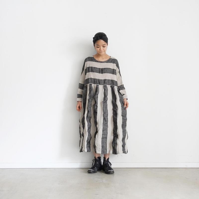 ichiAntiquités 100925 Linen KOTOHIRADAKI Dress / NATURAL×BLACK