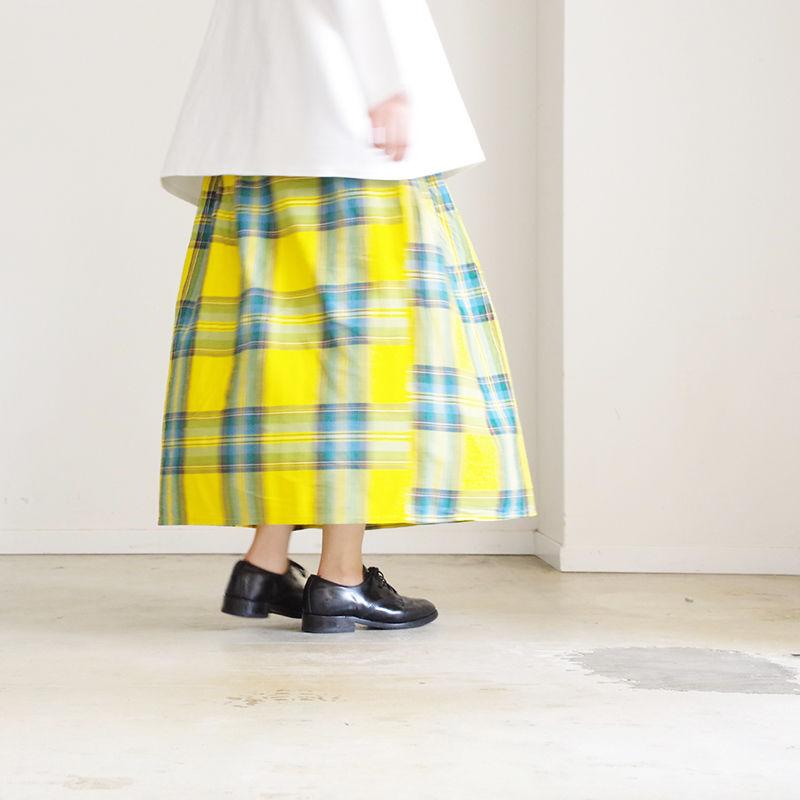 i c h i 181103 Cotton INDIGO Tartan Check Skirt / Yellow