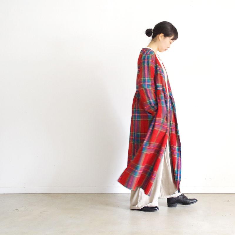 i c h i 181104 Cotton INDIGO Tartan Check Cache Coeur Dress / Red