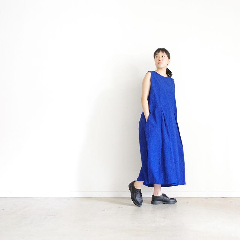 i c h i 181208 Cotton Typewriter Dress / Blue