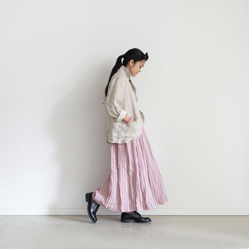 ichiAntiquités 100912  Linen Stripe Skirt / 3 COLORS