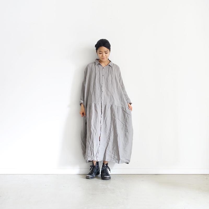 ichiAntiquités 100909 Linen AZUMADAKI Shirt Dress / BAMBOO