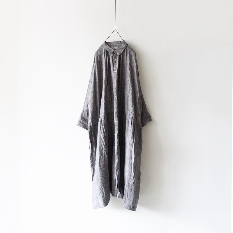 ichiAntiquités 500134 Vacance Linen Shirt Dress / CHARCOAL