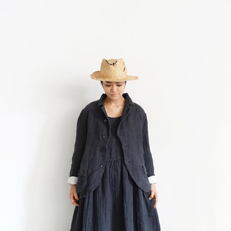 ichiAntiquités 100922  Linen AZUMADAKI Jacket / CHARCOAL