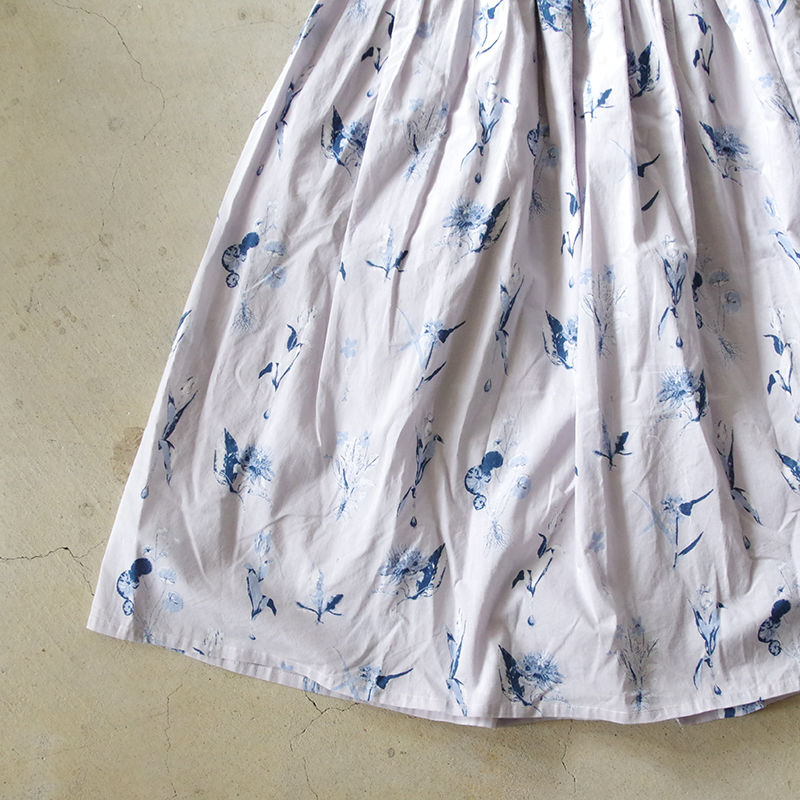 i c h i 181018 Botanical Flower Skirt / Gray