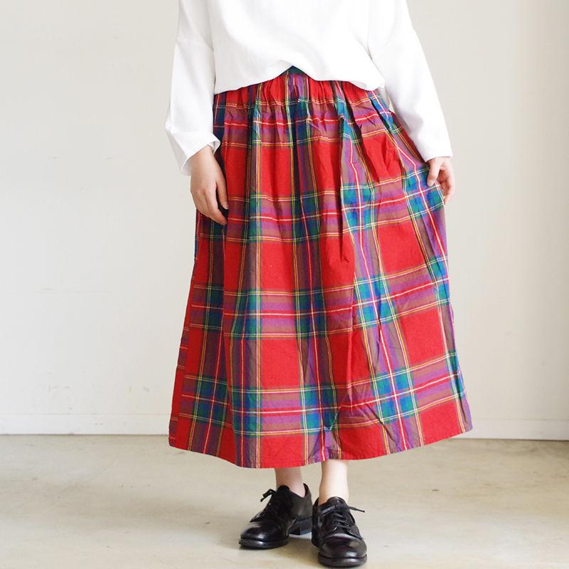 i c h i 181103 Cotton INDIGO Tartan Check Skirt / Red
