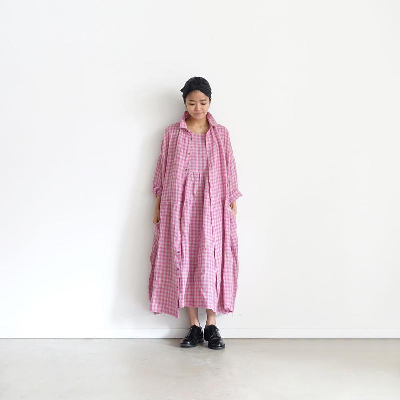 ichiAntiquités 100935  Linen Gingham Shirt Dress / PINK