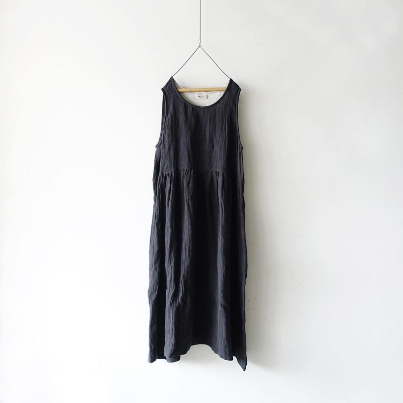 ichiAntiquités 100923  Linen AZUMADAKI Dress / CHARCOAL