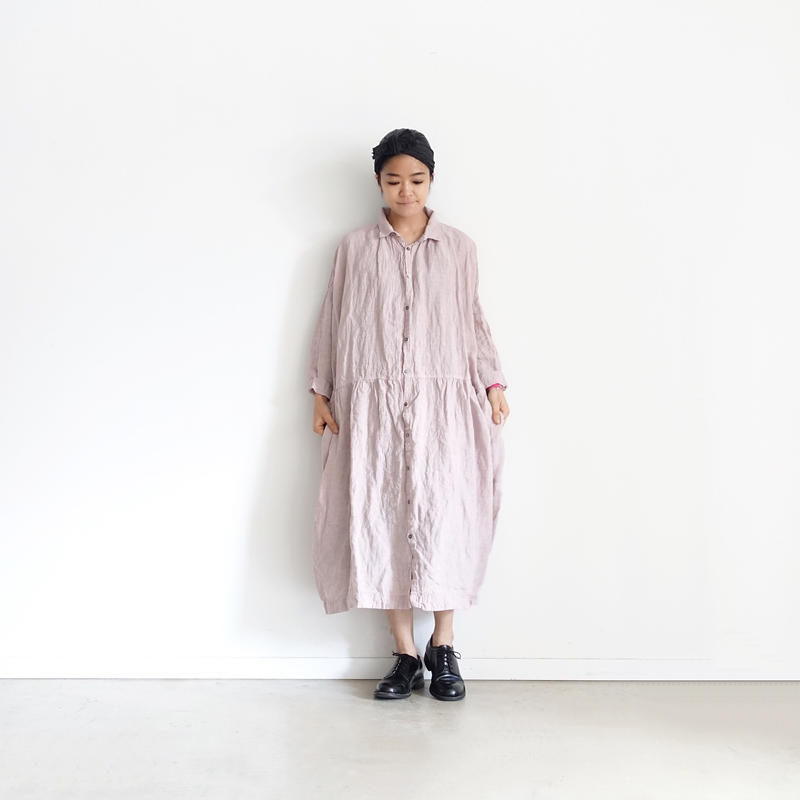 ichiAntiquités 500108 Color Linen Shirt Dress / PINK