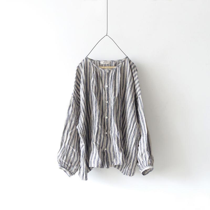 ichiAntiquités 100910  Linen Stripe Shirt / 3 COLORS