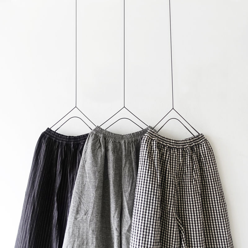 ichi 190426 Cotton Linen Wide Pants / Gingham