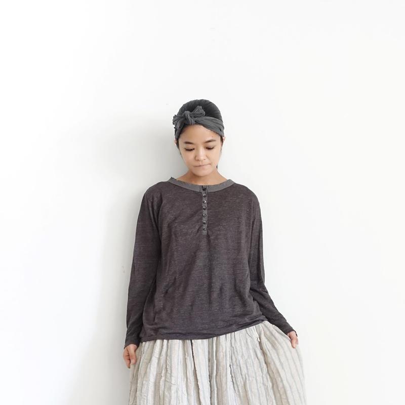 ichiAntiquités 100635  Linen Henly Pullover / CHARCOAL