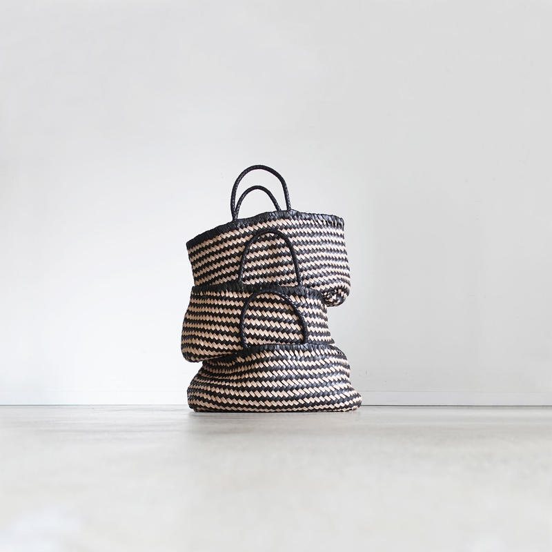 KYUCA KY0301 Leather Mesh Tote / BLACK × NATURAL