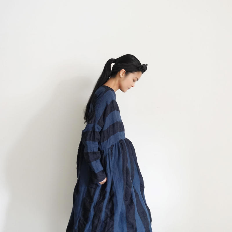 ichiAntiquités 100925 Linen KOTOHIRADAKI Dress / NAVY×BLACK