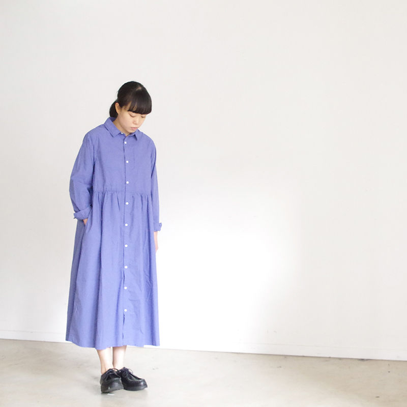 i c h i 181003 Cotton Typewriter Shirts Dress / Blue
