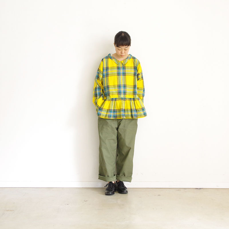 i c h i 181101 Cotton INDIGO Tartan Check Pullover Blouse / Yellow