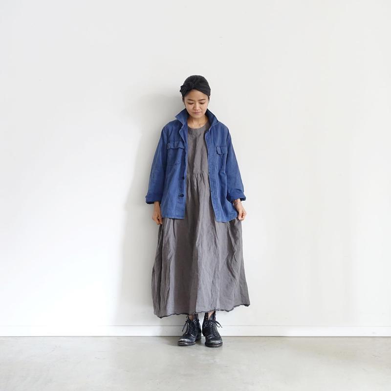 ichiAntiquités 100904  Linen AZUMADAKI Selvedge Dress / CHARCOAL