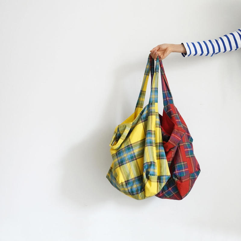 ichi 181139  Cotton INDIGO  Tartan Bag / YELLOW