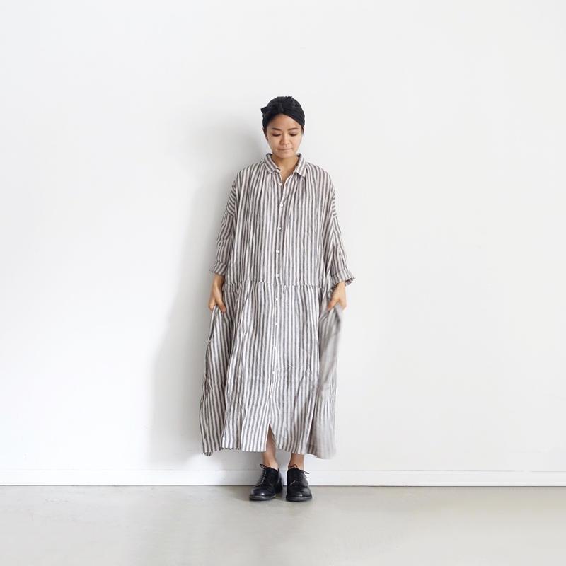 ichiAntiquités 500135 Vacance Linen Stripe Shirt Dress / CHARCOAL STRIPE