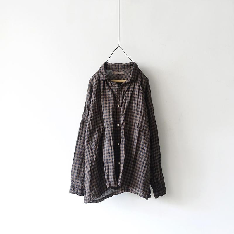 ichiAntiquités 100931 Linen Gingham Handdye Shirt / MUD