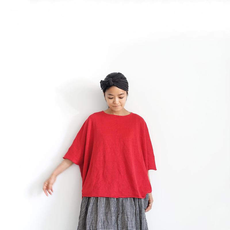 ichiAntiquités 500158  Linen Knit Wide Pullover / RED
