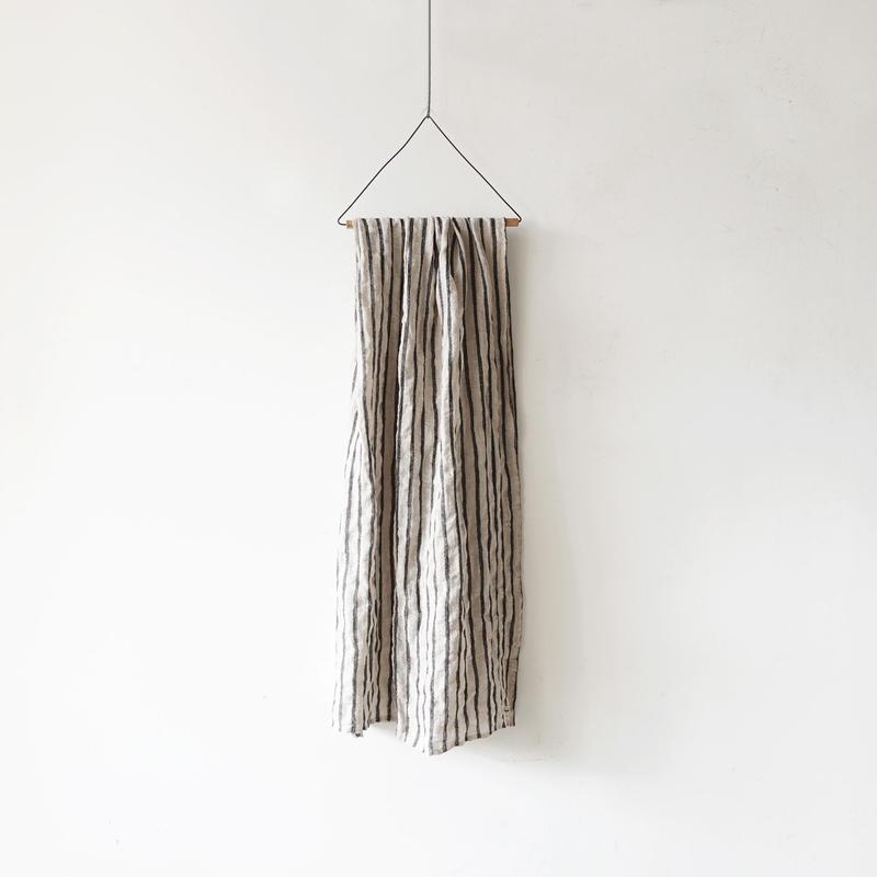 ichiAntiquités 100614 Linen Wool Stripe Stole / BLACK