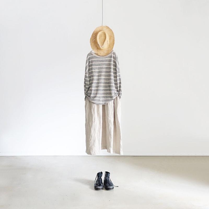 ichiAntiquités 100940  Linen Border Pullover / GRAY × NATURAL