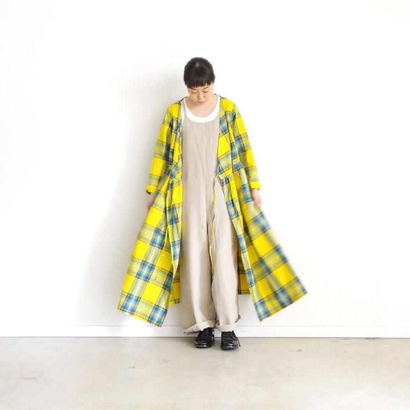 i c h i 181104 Cotton INDIGO Tartan Check Cache Coeur Dress / Yellow