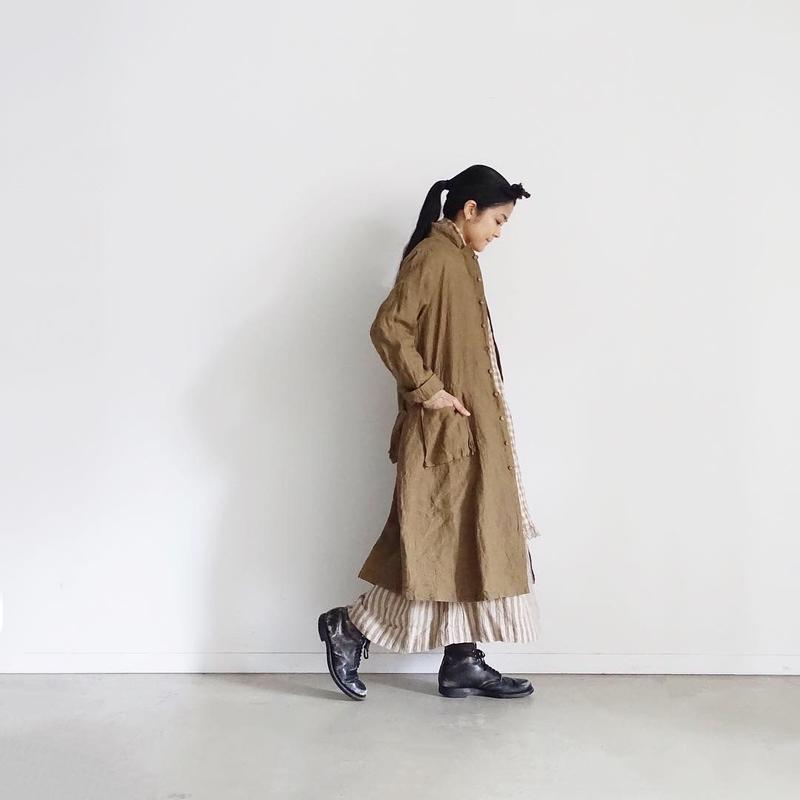 ichiAntiquités 100902  Linen Coat / BROWN